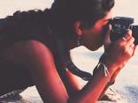 câmera na praia
